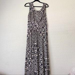 Maeve Anthro Maxi Speckled Geometric Print Dress